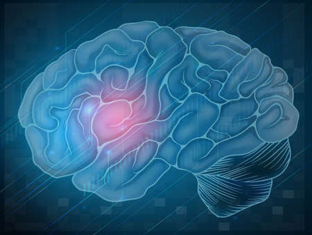 Illustration of human brain with blue background