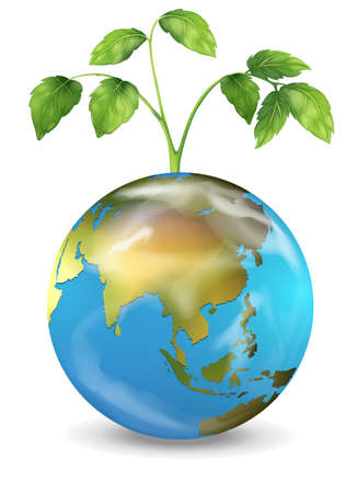 Illustration of the Earth with a growing plant