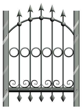Illustration of a steel gate on a white background