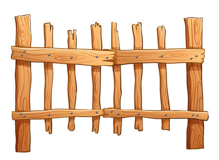 Illustration of the fence made of wood on a white background
