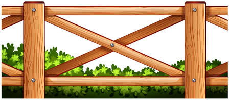 Illustration of a wooden fence design with plants at the back on a white background