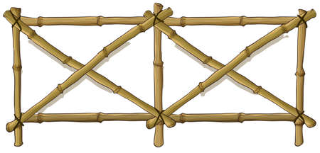 Illustration of the bamboo fence on a white background