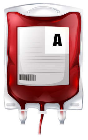 Illustration of a blood bag with type A blood on a white background