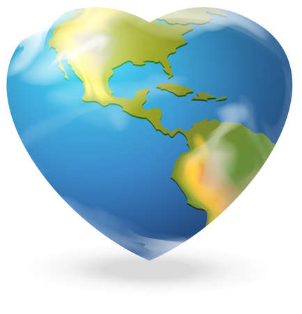 Illustration of a heart-shaped globe on a white background