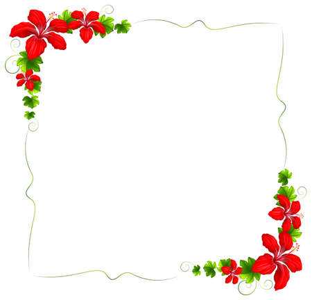 Illustration of a floral border with red flowers on a white background