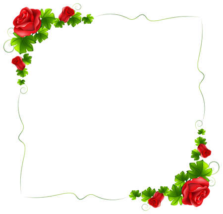 Illustration of a floral border with red roses on a white background