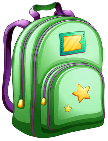 Illustration of a green schoolbag on a white background