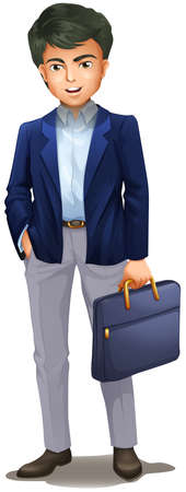 Illustration of a businessman holding a suitcase on a white background