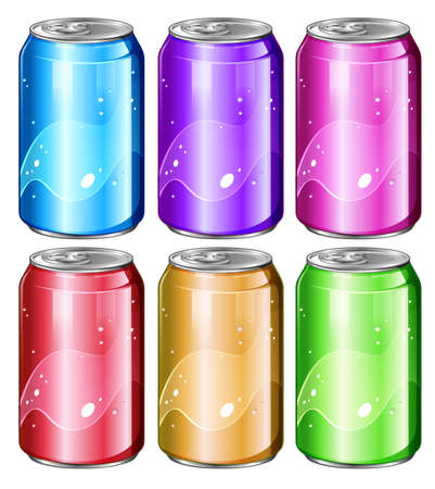 Illustration of a set of soda cans on a white background