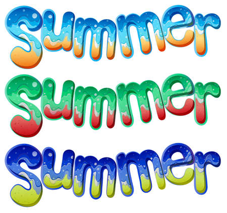 Illustration of the summer texts on a white background