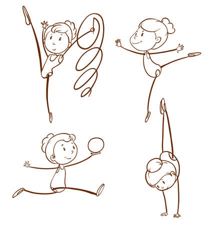 Illustration of the sketches of a girl doing gymnastics on a white background