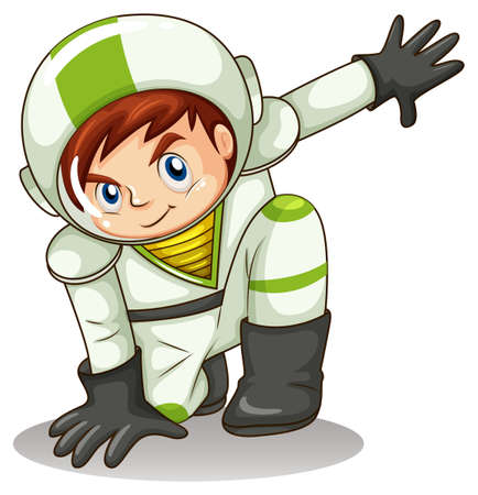 lllustration of a young male explorer on a white background