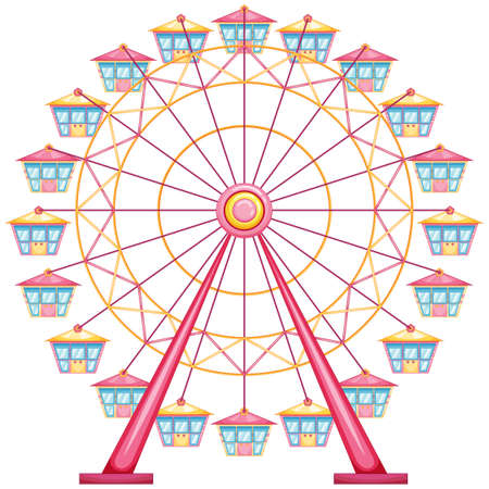 lllustration of a ferris wheel ride on a white background