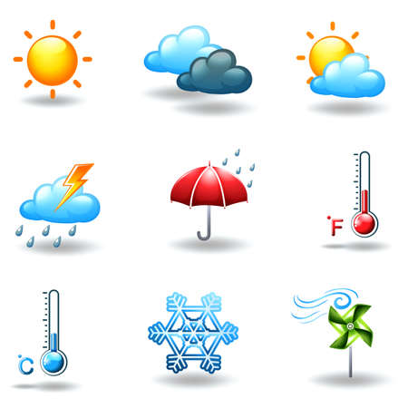 Illustration of the different weather conditions on a white background