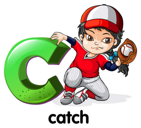 Illustration of a letter C for catch on a white background