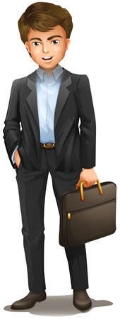 Illustration of a man with a suitcase on a white background