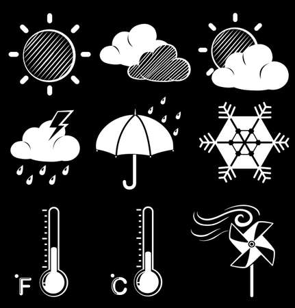 Illustration of the different weather conditions on a black background