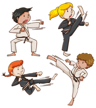 Illustration of the simple sketch of people engaging in martial arts on a white background
