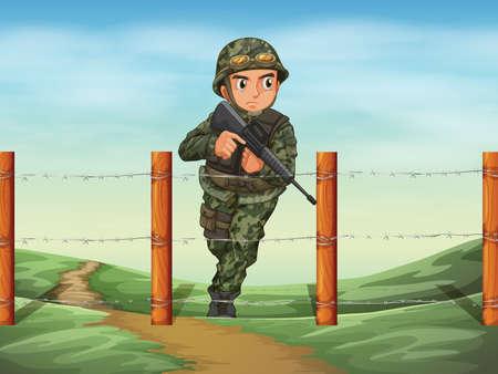 Illustration of a brave soldier