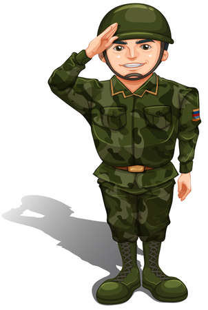 Foto per Illustration of a smiling soldier doing a hand salute on a white background   - Immagine Royalty Free