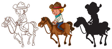Illustration of a ketches of a man riding a horse on a white background