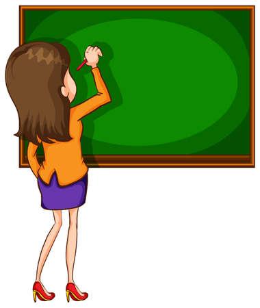 Illustration pour Illustration of a teacher writing on a blackboard - image libre de droit