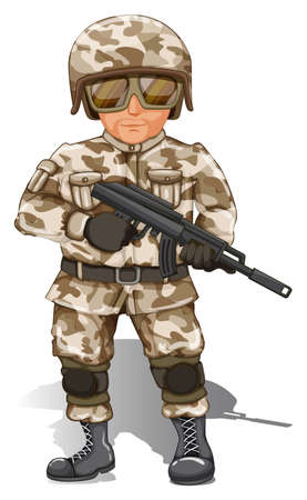 Illustration of a soldier with gun