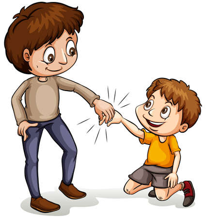 An idiom showing a man helping a young boy on a white background