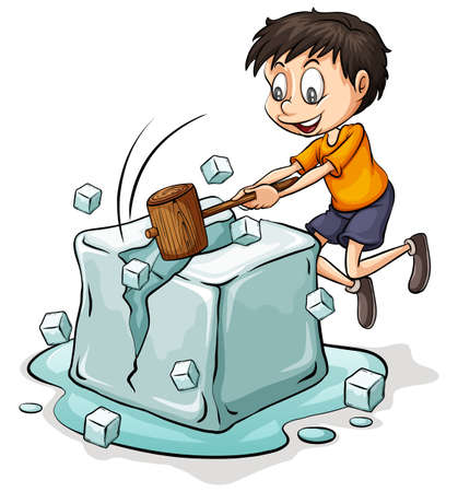 Boy breaking the big icecube on a white background