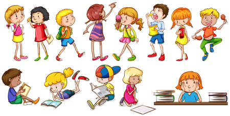 Kids engaging in different activities on a white background