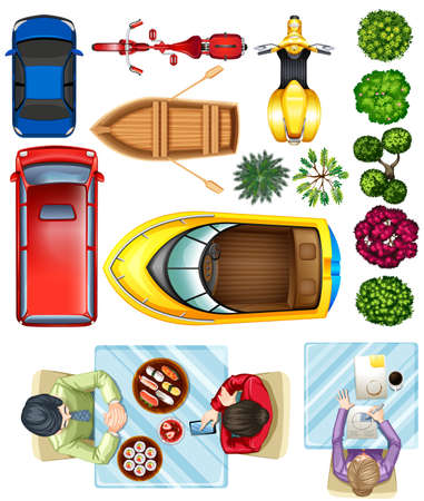 Photo for Birdeye view of vehicles, plants and people at the table on a white background - Royalty Free Image