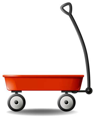 Close up plain design of red wagon