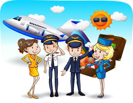 Pilots and flight attendants in uniform