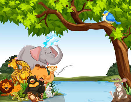 Illustration for Animals together by the river bank - Royalty Free Image
