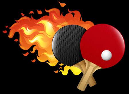 Flaming table tennis set illustration