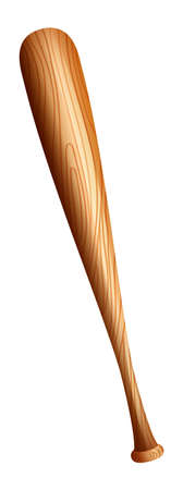 Wooden baseball bat on white illustration