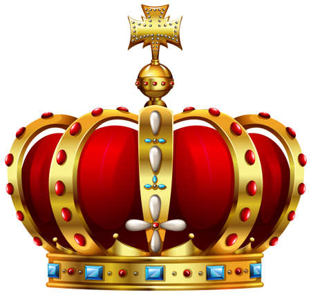 Illustration for Golden-red crown decorated with colorful stones - Royalty Free Image