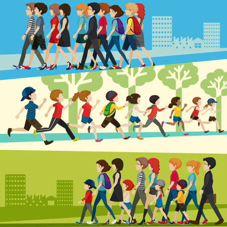 Infogrphic of people adult and children in many places