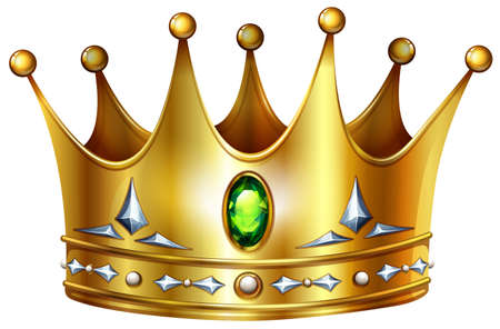Illustration for Golden crown with green gemstones and diamonds - Royalty Free Image