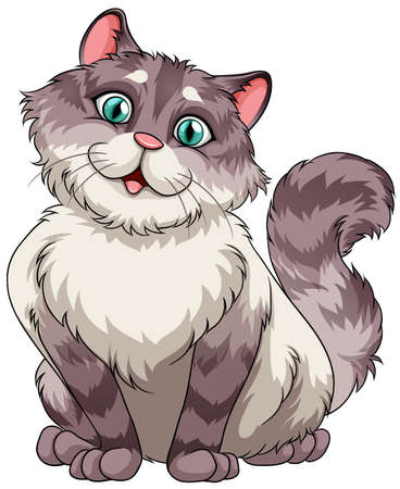Illustration pour Cute furry cat sitting alone on white background - image libre de droit