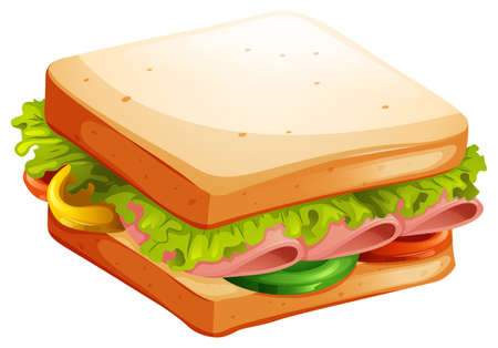 Ilustración de Ham and vegetable sandwich illustration - Imagen libre de derechos