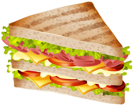 Sandwich with ham and cheese illustration