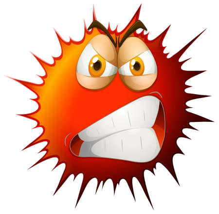 Angry face on red splash illustration