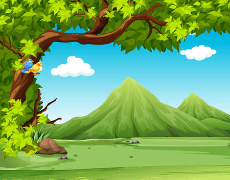 Nature scene with moutains in background illustration