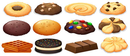 Cookies and chocolate bar illustration