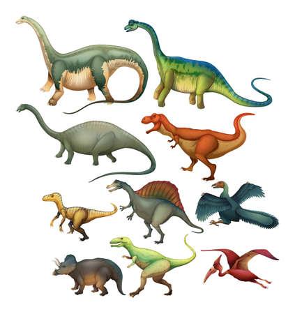 Illustration pour Different type of dinosaurs illustration - image libre de droit