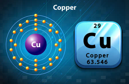 Ilustración de Symbol and electron diagram of Copper illustration - Imagen libre de derechos