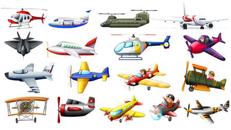 Illustration for Different kind of aircrafts illustration - Royalty Free Image