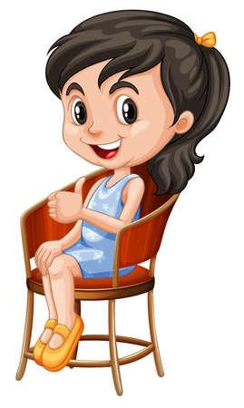 Little girl sitting on chair illustration