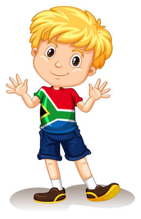 Illustrazione per South Africa boy waving and smiling illustration - Immagini Royalty Free